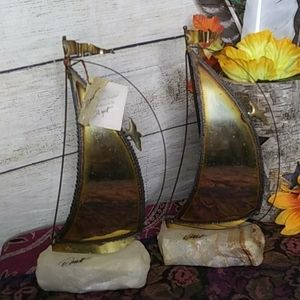 signed pair of sailboats bookends  by Demott
